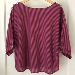 Vintage Handmade Striped Dolman/Batwing Sleeve Top